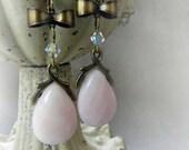 Handmade Pink Peruvian Opal Dangle Victorian Style Earrings