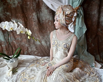 White Poppies , Paillettes  and Pearls Art Nouveau Deco Fantasy , hand beaded Wedding  Gown , bell shaped skirt