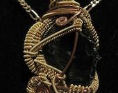 Wire Wrap Brass Copper Obsidian Garnet Pendant