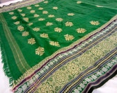 Heavily embroidered green cotton sari and blue eyelet choli