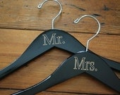SET OF TWO Engraved Black Hangers - Mr. and Mrs.