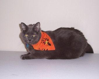 Pet Bandana Halloween Size Small Black Cats and Bats