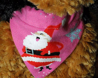 Christmas Pet Bandana Pink with Santa Size Small