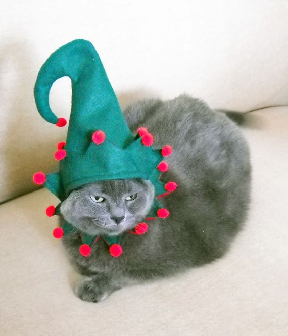 Pet Costume - Elf Costume - Green - Small - Christmas Costume Cat Costume