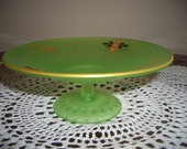 Vintage Art Deco Handpainted Satin Frosted Green Depression footed serving dish