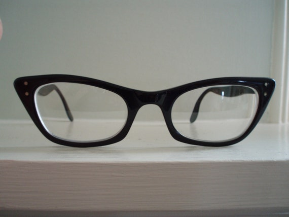 Vintage Women's Bausch and Lomb Black Cat Eye Prescription Glasses