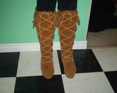 vintage Minnetonka womens brown suede fringe boots mocassins knee tall size 6.5 to 7