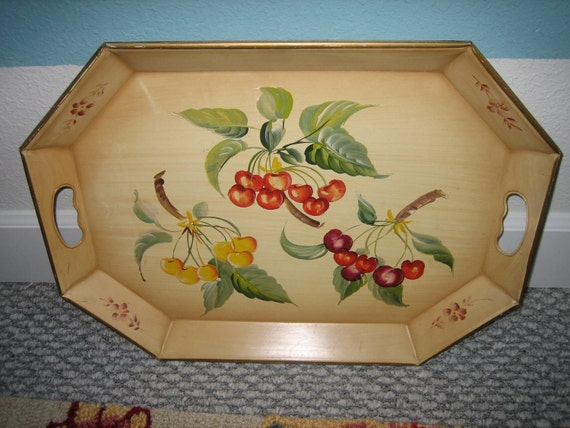 OLD Tole Metal Tray Handpainted  with Cherries-Fall Beauty