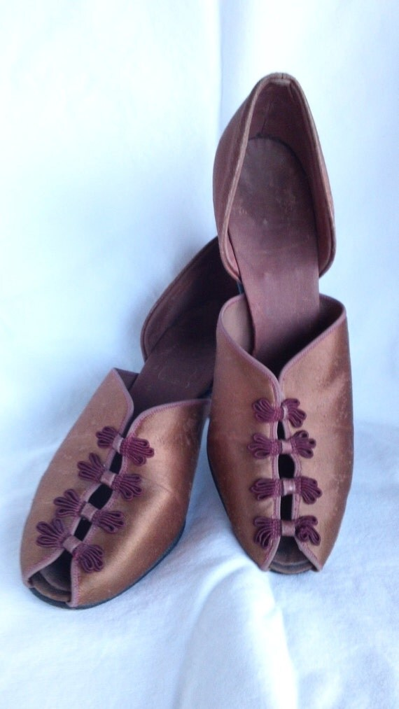 30s Pink Satin Party Shoes