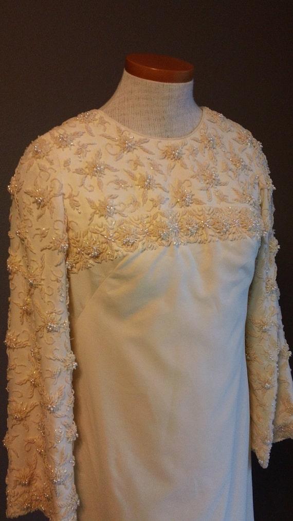 60s Heavy Beaded Bust and Bell sleeves Jackie O era Sheath Cut Wedding Gown Dress