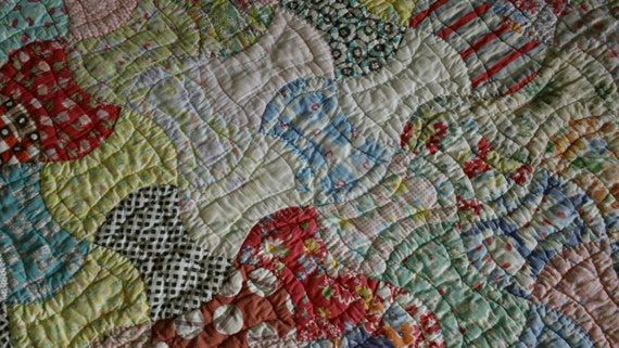 Antique Feedsack Jointed Bow Tie Hand Stitched Quilt