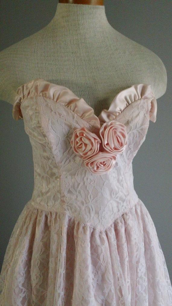 RESERVED RITA 80s Pink Strapless Rosette Trim Gunne Sax Party Dress