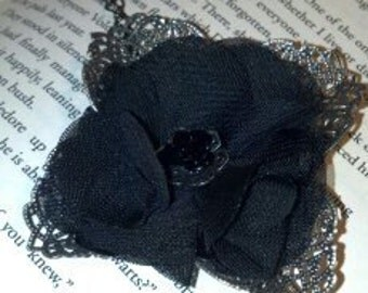 Black Flower and Filigree Necklace