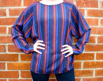 Vintage 80s - Stripes & Triangles Tunic Blouse - Blue / Black / Red - Womens Size M / L