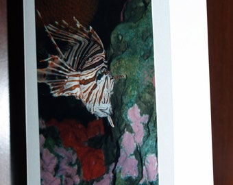 Note Card 5x7 Lion Fish in Aquarium