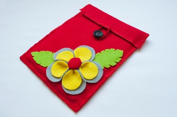 Felt  Ipad  Sleeve Ipad case Felt Ipad Cover Red cover with flower grey yellow