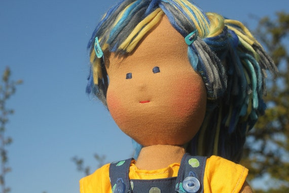 """Waldorf doll called Bluebell , she is 16"""" tall , soft cloth doll , blue and yellow"""