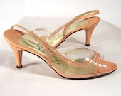 Vintage Ladies Shoes early 1960s, Size 6, See-through Flesh-tone Leather - Mad Men Drool
