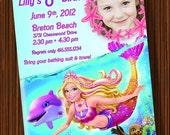 Mermaid Tale - Girls Birthday Invitation - You Print