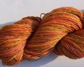 Lacegarn Seide / Merino handpainted  golden brown orange pink yellow