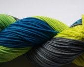 Sportweight handpainted Merinoyarn extrafine blue green yellow grey