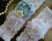 Something Blue Wedding Garter - Wedding Bridal Garter - Toss Garter - White - Pearl - Rhinestone - Vintage - Toss Garter - Keepsake
