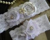 Wedding Garter - White Lace Garter Set - Bridal Garter - Toss - Garters - Vintage Garter - Keep Garter - White Lace Garter