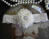 SALE-GARTER-Wedding Garter - Garters - Ivory Lace Garter - Shabby Chic - Bridal Garter - Toss Garter - Rhinestone Wedding Garter