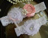 Wedding Garter - White Lace Garter Set - Shabby Chic - Bridal Garter - Vintage Garter - Pink Garter - Rhinestone and Pearl Wedding Garter
