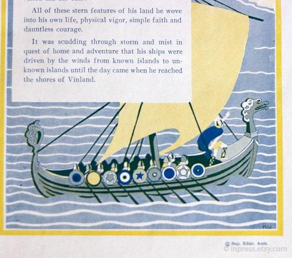 1944 Vtg Viking Illustration with Funny Caption