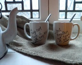 SALE - Set of Two Hand Painted Mugs With Love Quote Gift