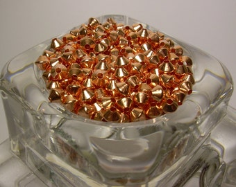 3.2 mm  144 Pcs. Bicone COPPER SMOOTH BEADS (Genuine Solid Copper)