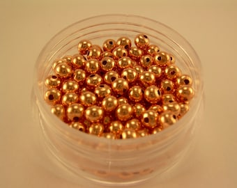 4 mm  144 Pcs. Rondelle COPPER SMOOTH BEADS (Genuine Solid Copper)