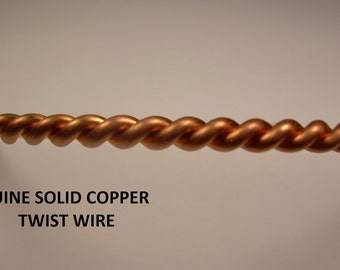 14Ga  5Ft. Solid Copper Twisted Fancy Wire  Made In USA (Genuine Solid Copper)