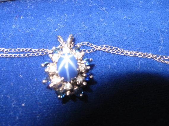 14k Blue Star Sapphier and Blue Sapphires and Naural Cut Single Cut Diamond Pendant Necklace 14K Vintage Necklace