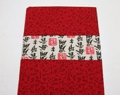 Journal Notebook Covered in Red White and Black Calico Fabric Handmade LittlestSister