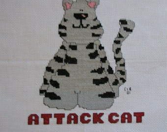 Cross Stitch  Attack Cat  Completed and Ready to Frame Handmade LittlestSister