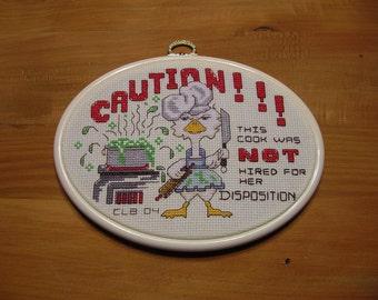 Cross Stitch Kitchen Sampler Funny Completed Finished Handmade LittlestSister