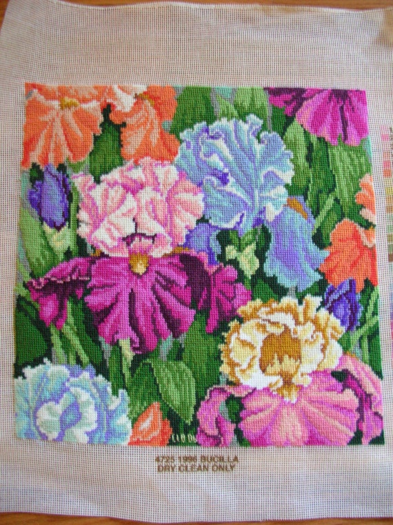 Needlepoint  Irises  Completed and Ready to Frame
