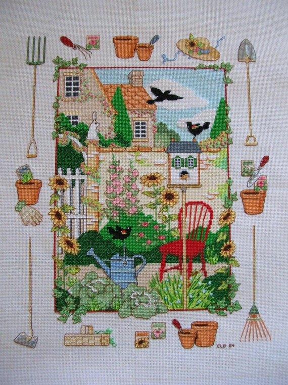 Cross Stitch Sampler  Gardening Theme  Completed and Ready to Frame Handmade LittlestSister