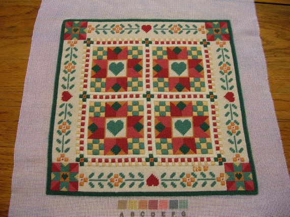 Needlepoint  Country Design  Completed and Ready to Frame Handmade LittlestSister