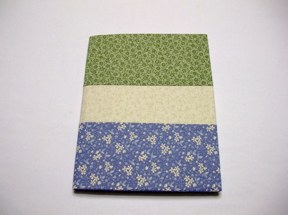 Fabric Covered Journal in Green and Blue Calico