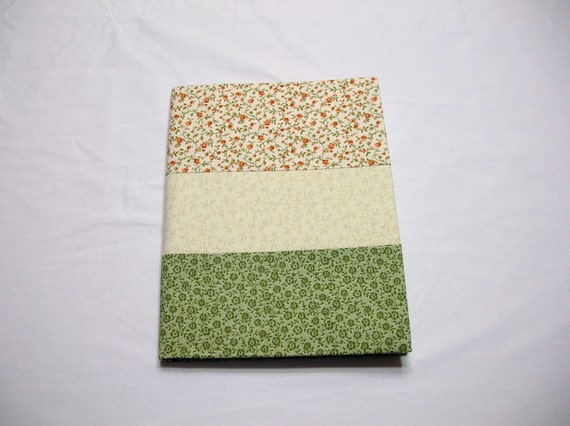Fabric Covered Journal in Beige and Green Calico