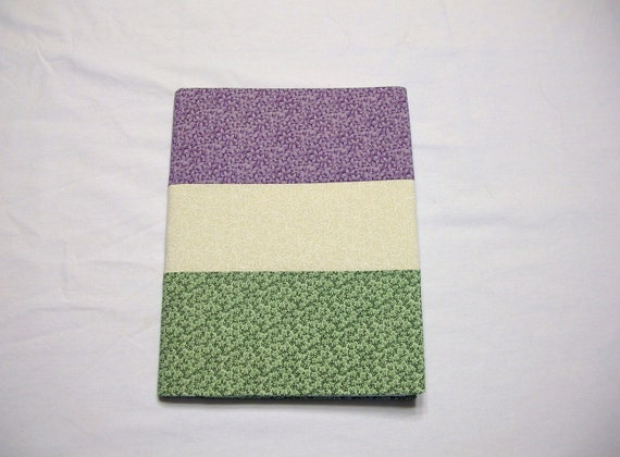 Journal Notebook Covered in Green and Purple Calico Fabric Handmade LittlestSister