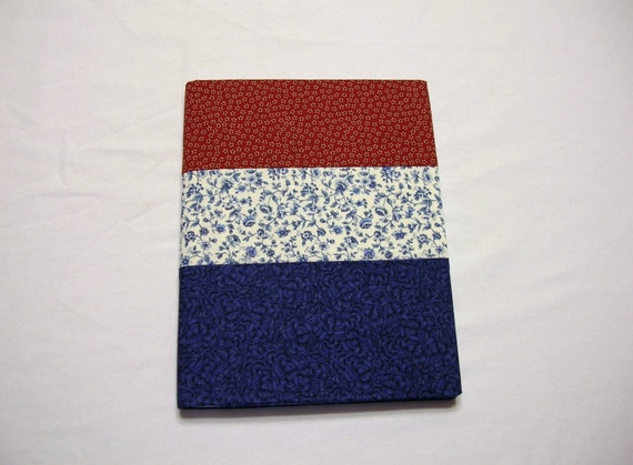Journal Notebook Covered  in Red, White and Blue Calico Handmade LittlestSister