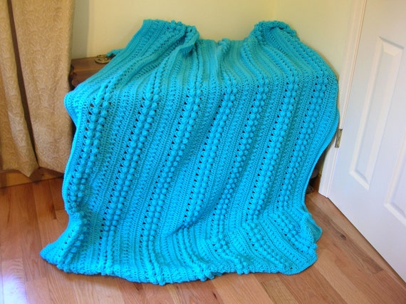 Crochet Afghan Blanket Throw, Aqua, Turquoise, Blue, Bright  Large and Cozy