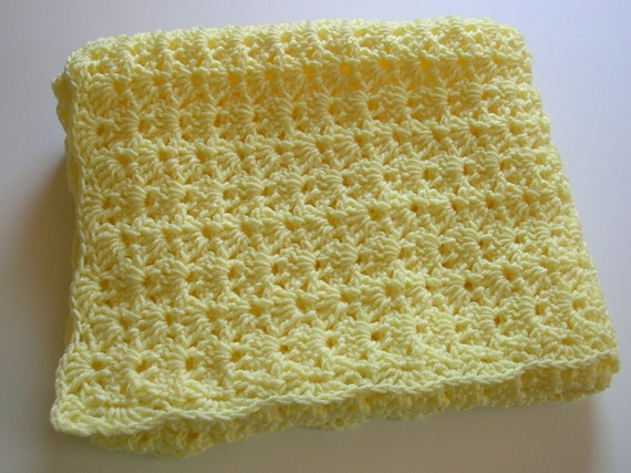 Crocheted Baby Afghan in Pale Yellow
