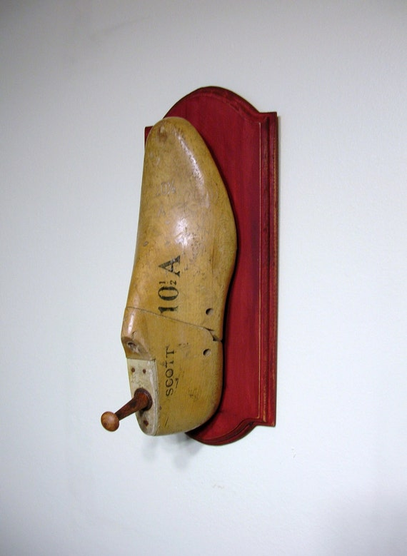 Shabby Chic Vintage Shoe Form Coat or Hat Rack with Distressed Barn Red Wood