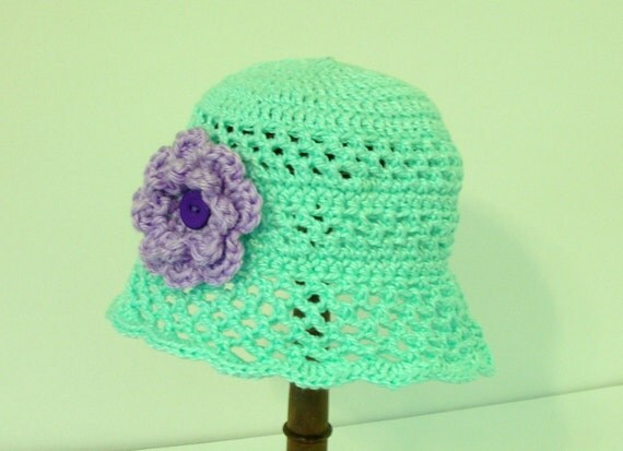 Crochet Baby Hat, 6 months, Mint Green with Purple Flower and Button