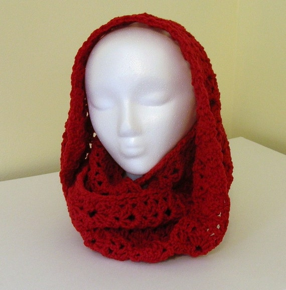 Crochet Infinity Scarf Cowl - Red Burgundy Wool